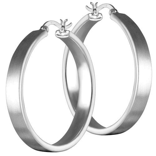 Vinani Klapp-Creolen mattiert Sterling Silber 925 Ohrringe CBAM