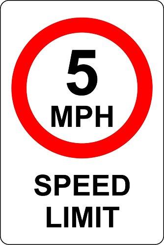 5MPH Speed Limit Safety Sign Schild aus Aluminium-3mm 400mm x 300mm -