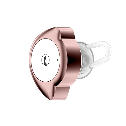 Normia Rita Moon Shaped Bluetooth 4.1 Earbud Wireless Headset with 6 Hour Playtime, Invisible Earpiece In Ear Earphone with Mic for Handsfree Calls for iPhone and Bluetooth Devices - Rose Gold