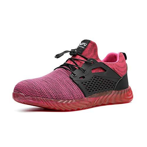 Arbeitsschuhe Herren Sneaker Sicherheitsschuhe Damen Stahlkappe Schutz Turnschuhe Sportlich Stiefel Mesh Leicht Wandern Pink-3 EU38