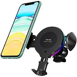OMOTON Chargeur sans Fil Voiture, Support Téléphone Chargeur Induction 10W Compatible pour Galaxy S10/S9/S8, 7.5W pour iPhone 11 Pro/XS max/8+, Huawei P30 pro, Infrarouge à Serrage Automatique