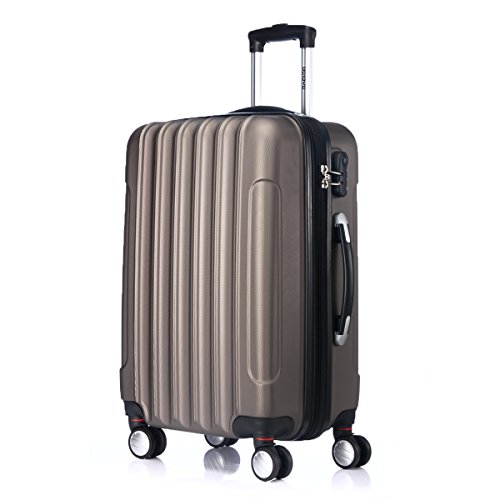 Zwillingsrollen 2050 Hartschale Trolley Koffer Reisekoffer in M-L-XL-Set in 12 Farben (M, Coffee)