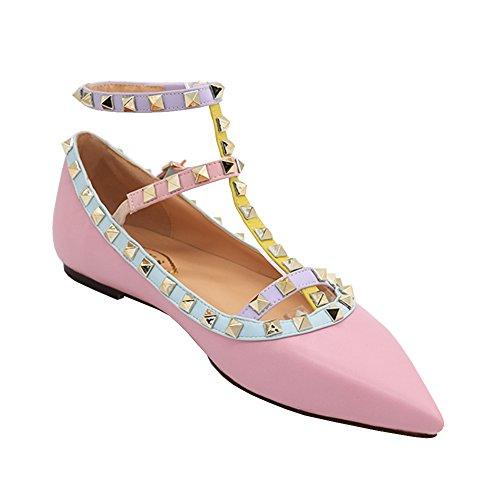 Stilett Strap Schuhe Spitze Ballerinas 35 Flache Niets 46 Damen EU Ankle EKS Flache Matte Rosa Schuhe wBgIRfXqx