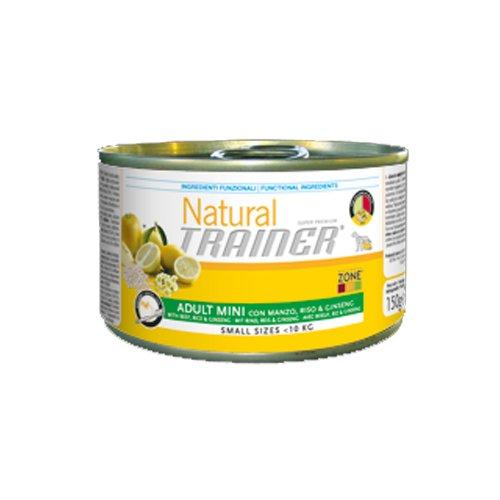 Trainer scatoletta cibo umido cane adulto piccolo natural manzo riso ginseng 150 gr