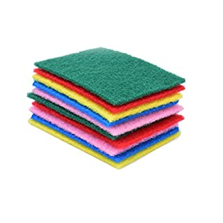 Kicode 50pcs Scouring Pads Cleaning Cloth Dish Towel Duster Cloth Colorful Kitchen Home Scour Scrub Cleaning Mixing Color