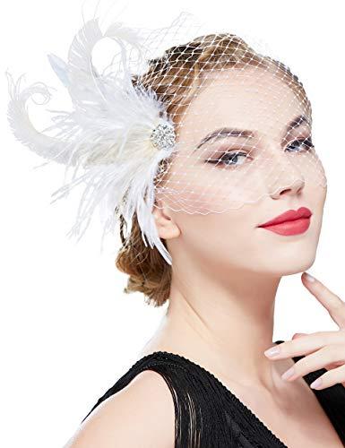 Coucoland 1920s Feder Stirnband Fascinator Haarspange Hochzeit Braut Fascinator Haarclips Elegant Damen Charleston Great Gatsby Fasching Kostüm Accessoires (Stil 4 - Weiß Beige)