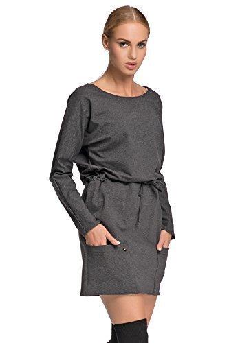 Futuro Fashion Femmes Décontracté Taille Réglable Tunique avec poches Manches Longues Col Bateau Taille 36-38-40-42 FA475 Graphite