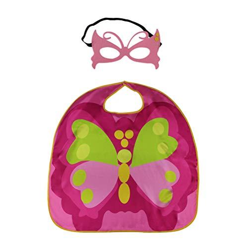 BESTOYARD Schmetterling Cape Umhang Set mit Maske Schmetterlingsflügel Cape Maske Set Halloween Party Kostüm Zubehör Kinder Cosplay Kostüm (Rosa)