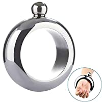CozofLuv 3.5oz Stainless Steel Jug Bracelet, Creative Ring Bracelet Alcohol Hip Flask Funnel Bangle Bracelet Jewelry Gifts Wine Funnel Bangle (Bright Silver)