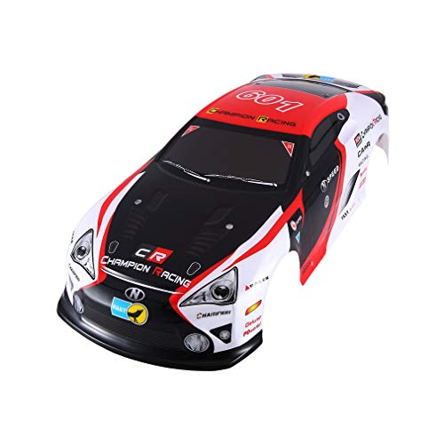 ll Body für J601-9 1/10 RC Rennwagen Flache Sport Drift Fahrzeug Spielzeug White & red ()