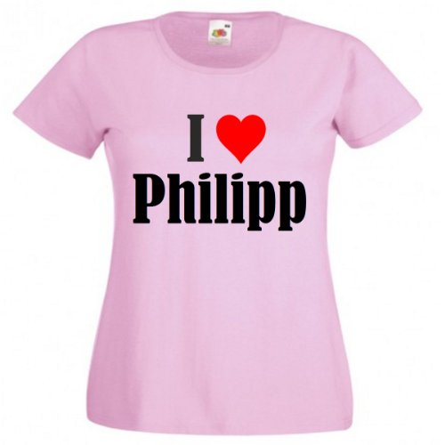 "T-Shirt ""I Love Philipp"" für Damen Herren und Kinder in Pink Pink"