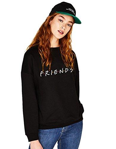 Friends Series Logo Sweatshirt Buchstaben Freunde Pullover TV Show Bauwolle 1Pcs (Schwarz-Friends-M)