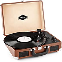 Auna Peggy Sue Belt-drive audio turntable Marrón - Tocadiscos (Corriente alterna, 220 - 240 V, 50/60 Hz, Marrón, 2,5 kg, 355 x 275 x 115 mm)