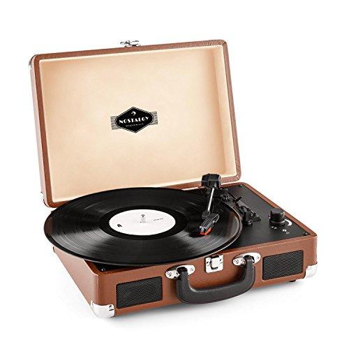 Auna Peggy Sue • Giradischi • Giradischi Vinili • Vintage • Pick-Up Preassemblato • USB • Design a Valigetta • 2 Altoparlanti • RCA • Marrone