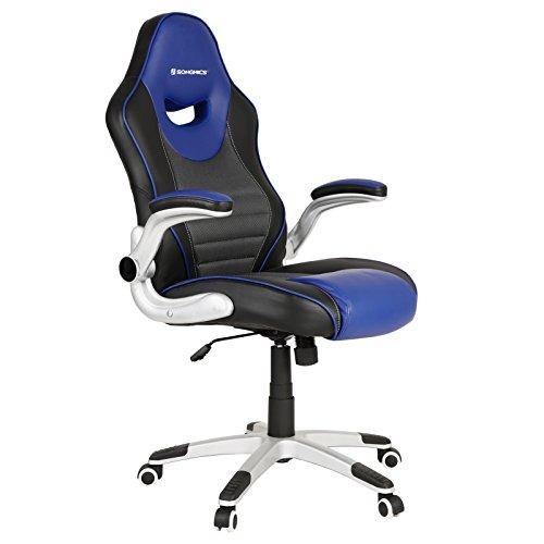 SONGMICS Bürostuhl, ergonomischer Drehstuhl, mit klappbaren Armlehnen, Nylon-Sternfuß, Tragfähigkeit 150 kg, schwarz blau OBG63BQ
