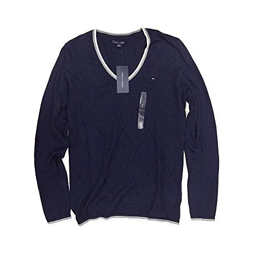 Tommy Hilfiger Pullover, Women's Diamond Knit V-Neck Sweater, Medium (Mit Diamond-pullover V-ausschnitt)