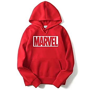 THE SV STYLE Unisex RED Hoodie with White Print: Marvel/Printed Red Hoodie/Graphic Printed Hoodie/Hoodie for Men & Women/Warm Hoodie/Unisex Hoodie (Small)