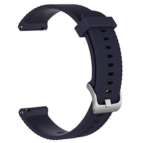 Bandas de repuesto para Garmin Vivoactive 3 / Vivomove / Vivomove HR Fitness Watch 20 mm Correa de silicona suave ajustable Quick Release Accesorio Watchband (Azul marino, L)