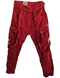 264a681671bb ITAIMASKA Damen Militär Cargohose Hose mit Hosenträgern Taschen 34 36 38 40  42 Grau Grün Rosa