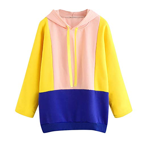 OVERMAL-1 Sweat-Shirts Femmes Vetement Automne Mode Sweat à Capuche Pachwork Col Rond Manches Longues Chemise Fille Pullover Hoodie Pas Cher Sweat Tops
