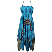 Womens Dress Handkerchief Hem Blue Printed Sari Silk Halter Dresses S/M