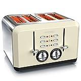Arendo - Automatik Toaster 4 Scheiben | Edelstahlgehäuse | bis zu vier Sandwich und Toast-Scheiben | Bräunungsgrad 1-6 | Aufwärm- und Auftaufunktion | Krümelschublade | 1630 Watt | GS-zertifiziert