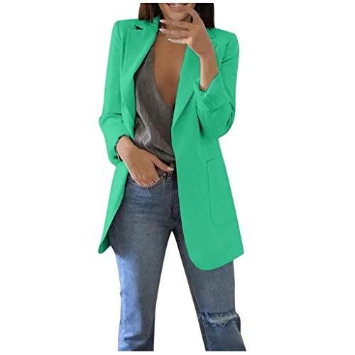 SHOBDW Damen Casual Lang Ärmel Vorne Offen Blazer Seitentaschen Arbeit Suit Büro Jacke Damen Blazer Cardigan Dünn Elegant Business Jacke Blazer Slim Fit Anzug Trenchcoat