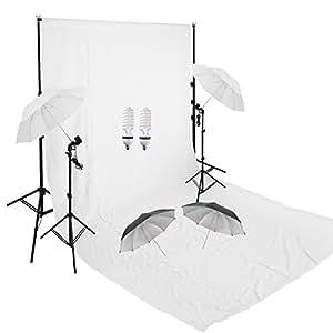 Fotografico Studio Continua Ombrello Nero Argento e Bianco Kit luci + 6 x 3m Bianco Schermo mussol Sfondo +3m x 2.8m Kit Supporto Fondale Background con Bulbi da a Luce Continua 5500K