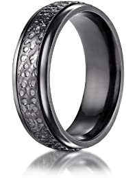 Aetonal Titanium, 7.0mm Comfort-Fit Hammered-Finished Design Ring (sz L to Z3)