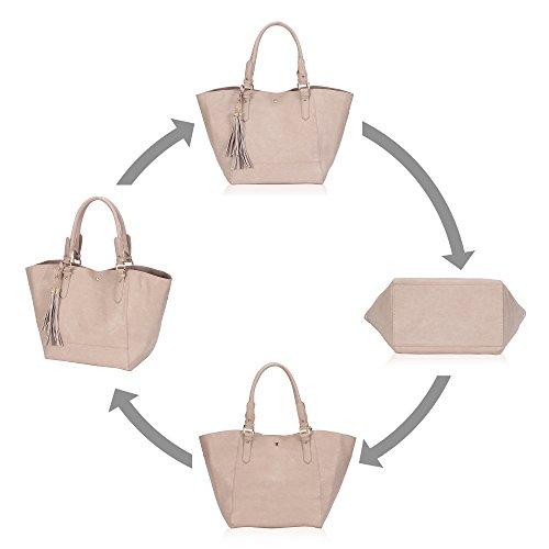 Veevan Damen Tote Handtasche Bildpaket Shopper Schokolade Khaki