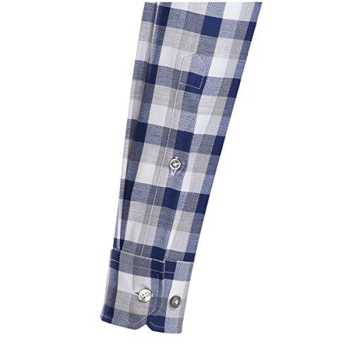 JACQUES BRITT Business Hemd Slim Fit 1/1-Arm Bügelleicht Karo City-Hemd Button-Down-Kragen Manschette weitenverstellbar dunkelblau (0019)
