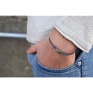 Herren Armband Herrenarmband Surfer Armband für Männer und Damen Unisex Damenarmband Surf Style Wickelarmband Freundschaftsarmband stufenlos verstellbar mit Gold Karabiner (grau)