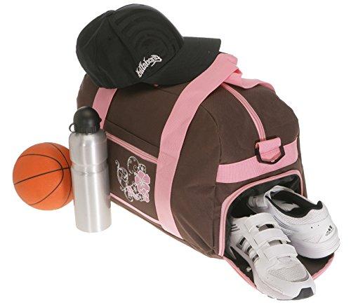 ELEPHANT Sporttasche mit Schuhfach / Naßfach Sport Tasche + Trinkflasche (FLOWER Lila-Pink) FLOWER Braun