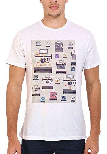 Retro Instant Cameras Vintage Funny Men Women Damen Herren Unisex Top T Shirt .Weiß