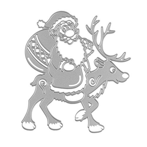 Gazechimp DIY Basteln Schneiden Schablone Stanzschablone Prägen Handarbeit Scrapbooking #2 - Weihnachtsmann Rentier -