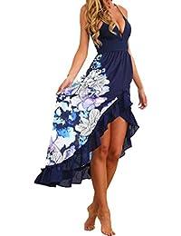 Mujer Verano Elegantes Cuello en V Bohemios Maxi vestido de largo Cóctel de noche moda Vestido de Fiesta Playa Sundress floral Atractivo ropa nuevo barato gran venta