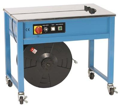 Umreifungsmaschine, halbautom., stufenlos höhenver stellbar 770-915 mm, Bandbreiten 6-15 mm, Schweiá