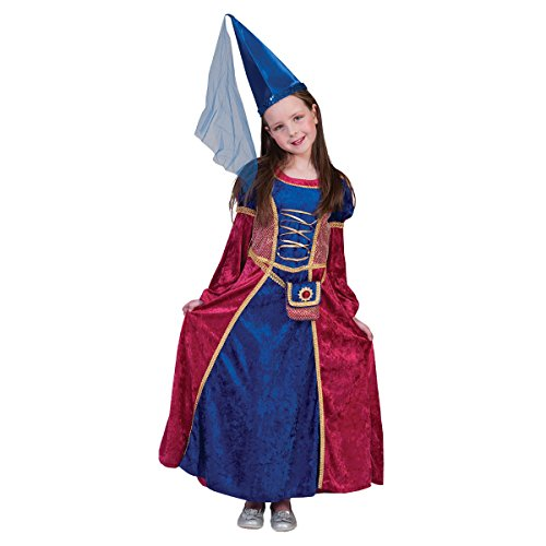 Kostümplanet Mittelalter Kostüm Kinder Mädchen Prinzessin-Kostüm mit Tasche -
