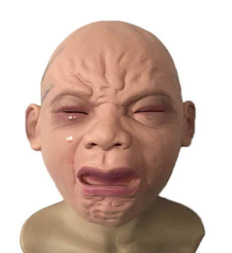 MX kingdom Neuheit Latex Rubber Creepy Cry Baby Gesicht Kopf Maske Halloween Christmas Party Kostüm Dekorationen Erwachsenen Zubehör