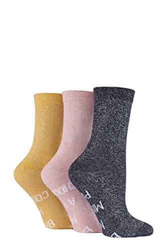 Sock Shop Wild Feet Damen Wenn du das lesen kannst. Weihnachten Baumwollsocken Packung mit 3 Mince Pies/heiße Schokolade/Kekse 36-40