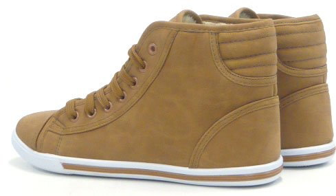 Damen Teddy Kunst Fell High Top Sneaker Schnürer Stiefelette Braun