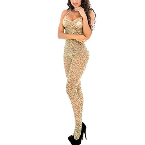 MCYs Damenbekleidung Leopard Print Jacquard Dessous Negligee Bodysuit Lingerie (Leopard Lingerie Print)