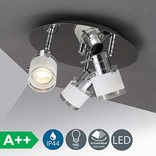 LED Bad Deckenleuchte Deckenlampe schwenkbar spritzwasser geschützt IP44 Badlampe Badezimmer Leuchte Deckenstrahler Spotleuchte GU10 3 x 5W 400lm warmweiß chrom weiß (Warmes Licht Im Bad)