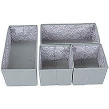 Tessuto cassetto organizzatori - grigio spagnolo con Feather Leaf Interni - 4 Pack (2 Media, 2 Piccolo)