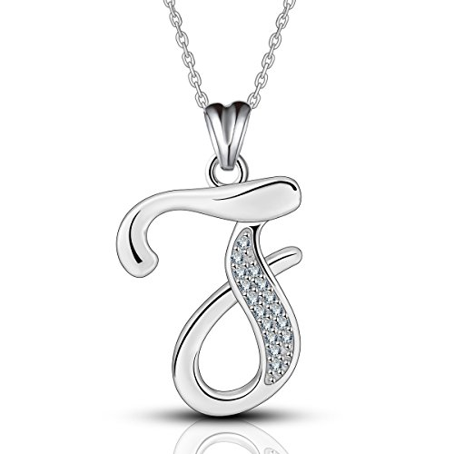 AEONSLOVE Silver 925 'Letter of the Alphabet Initial Pendant Necklace with Cubic Zirconia, Chain 46cm with Spring Buckle
