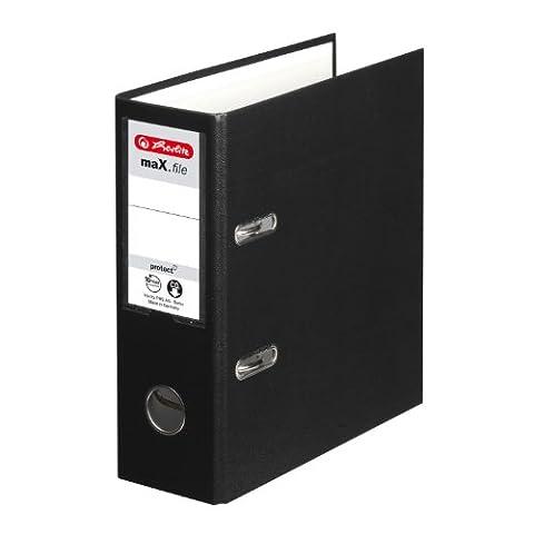 Herlitz 10842300 Classeur maX.file protect A5 orientation portrait en carton FSC (Noir) (Import (Raccoglitore Ad Anelli Files)