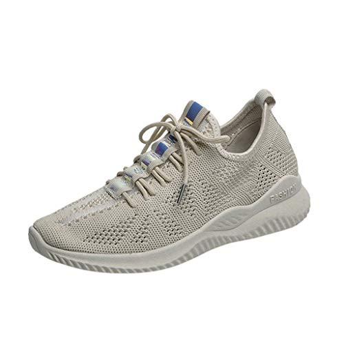 CUTUDE Damen Laufschuhe Atmungsaktiv Ultra-Leicht Freizeit Laufschuhe Outdoor Wild Sneakers Schuhe (Beige, 34 EU)