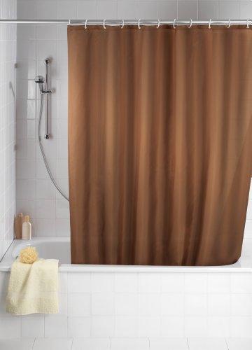 WENKO 20036100 Anti-Schimmel Duschvorhang Uni Chocolate - Anti-Bakteriell, waschbar, mit 12 Duschvorhangringen, 100 % Polyester, Braun (Weiß Und Braun Duschvorhang)