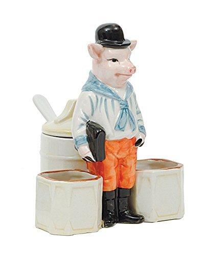 Creative Co-op Senftopf mit Löffel aus Steingut, Motiv Schwein, mehrfarbig