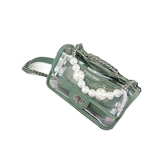 Transparente handtaschen klar PVC Kunststoff Eimer Tasche Perle Ketten Retro Partei Kupplung Frauen umhängetasche Green (West Nine Kupplung)